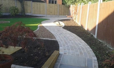 Garden Designed And Constructed Near Normanton, Including Fencing, Turf,  Cobble Path, Flags